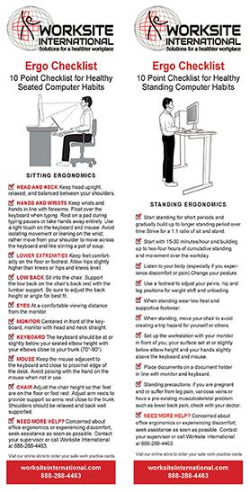 Sit and Stand 10 Point Ergo Checklist